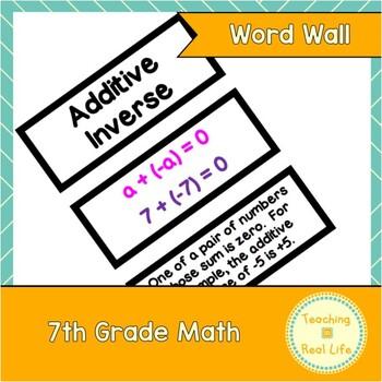 7th Grade Math Word Wall/Vocabulary Cards