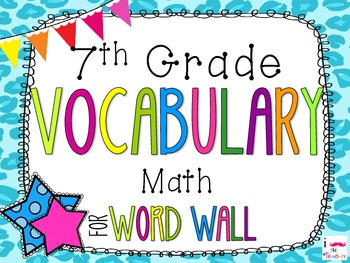 7th Grade Math Word Wall Vocabulary Cards **Cheetah Print**