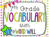 7th Grade Math Word Wall Vocabulary Cards **Neon Stars*