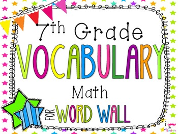7th Grade Math Word Wall Vocabulary Cards **Neon Stars*