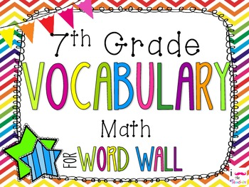 7th Grade Math Word Wall Vocabulary Cards **Rainbow Chevron**