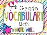 7th Grade Math Word Wall Vocabulary Cards **Rainbow Stripes**