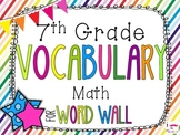 7th Grade Math Word Wall Vocabulary Cards **Rainbow Stripes**