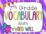 7th Grade Math Word Wall Vocabulary Cards **Zebra Print**