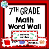 7th Grade Math Word Wall in Red- 154 Words!