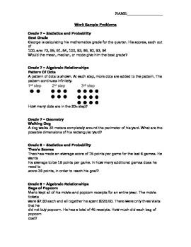 7th Grade Math Work Sample Problems
