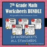 7th Grade Math Worksheets Bundle, 7th Grade Math Homework Bundle