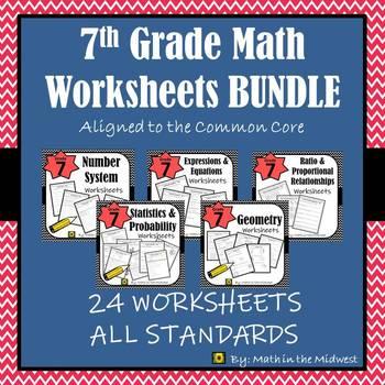7th Grade Math Worksheets Bundle, 7th Grade Math Homework Bundle