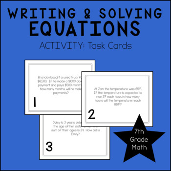 7th Grade Math Writing & Solving Equations Task Cards