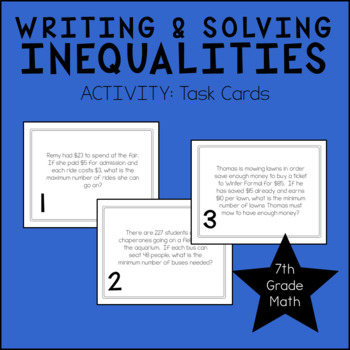 7th Grade Math Writing & Solving Inequalities Task Cards