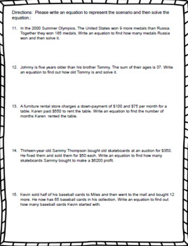 7th Grade Math – Writing and Solving Two-Step Equations