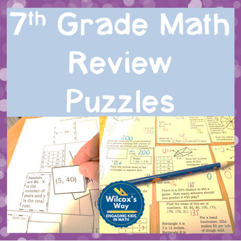 No Prep 7th Grade Math Review Puzzles