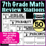 7th Grade Math End of the Year Review Stations- goformative.com version included