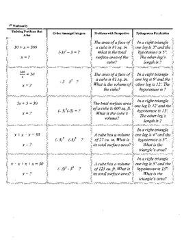 7th Grade Mathnerdy, 20 Jeopardy columns,template,7th Grad