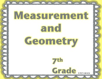 7th Grade Measurement and Geometry Word Wall