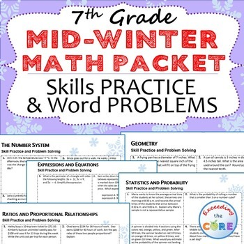 7th Grade MID WINTER  / February MATH PACKET -  { COMMON CORE Assessment }