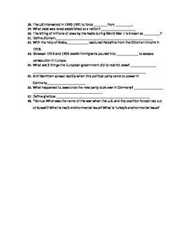 7th Grade Middle East History Test