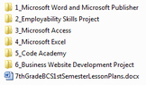 7th Grade Middle School Business and Computer Science Semester Plan and Projects