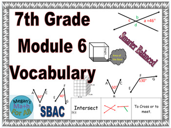 7th Grade Module 6 Vocabulary - Angles, Geometry, and Volume - Editable  -SBAC