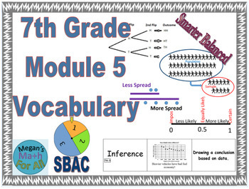 7th Grade Module 5 Vocabulary - Statistics, data, and probability-Editable-SBAC