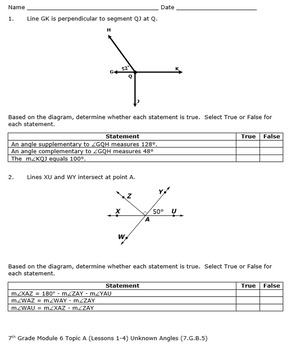 7th Grade Module 6 Quizzes for Topics A to E - Editable