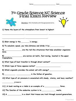 7th Grade NC Science Final Exam Review