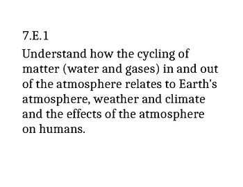 7th Grade NC Science Clarifying Objectives