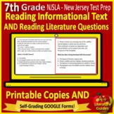 7th Grade NJSLA ELA Test Prep Reading Tests SELF-GRADING GOOGLE FORMS New Jersey