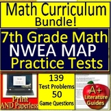 7th Grade NWEA MAP Math Prep Bundle Test and Games - RIT Bands 231 - 250