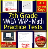 7th Grade NWEA MAP Math Test Prep Practice Assessments - RIT Bands 231 - 250