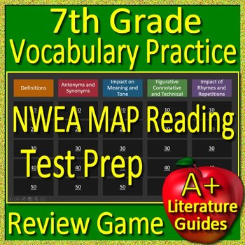 7th Grade NWEA MAP Reading Test Prep Vocabulary Practice Review Game