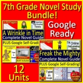 7th Grade Novel Study Bundle Print and Go AND Paperless Common-Core Aligned