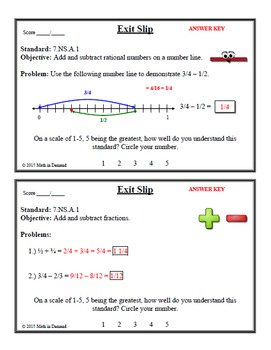 7th Grade Math Number Sense Exit Slips