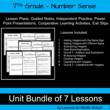 7th Grade Number System Bundle - Operations with Integers -  262 Pages