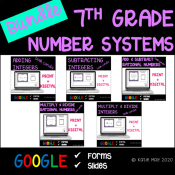 7th Grade Number Systems Unit Resource Bundle