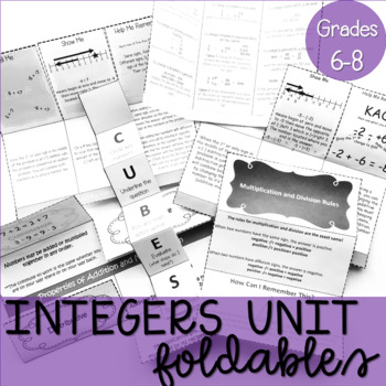7th Grade Number Systems Foldable Bundle Aligned to 7.NS.1