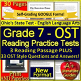 7th Grade Ohio Air Test Prep Practice Tests for ELA - Print AND Paperless!