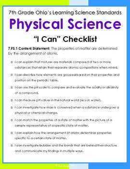 7th Grade Ohio Science Standards Checklist