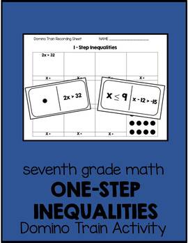 7th Grade One-Step Inequalities Domino Train Activity