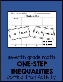 7th Grade One-Step Inequalities Domino Train Activity