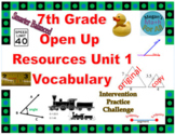 7th Grade Open Up Resources Math Unit 1 Vocabulary Cards - SBAC - Editable