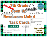7th Grade Open Up Resources Unit 4 Task Cards - Editable - SBAC