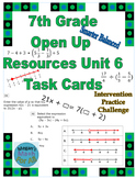 7th Grade Open Up Resources Unit 6 Task Cards - Editable - SBAC