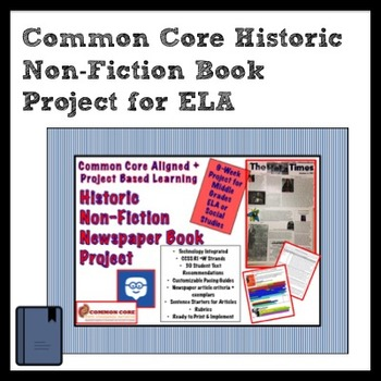 Historic Non-Fiction Book Project for Middle Grades ELA + Social Studies