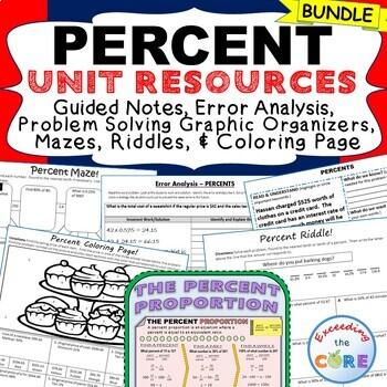 PERCENTS BUNDLE - Task Cards, Error Analysis, Graphic Organizer, Mazes, Puzzles