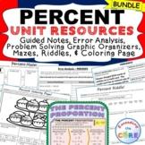 PERCENTS BUNDLE Task Cards, Notes, Error Analysis, Graphic Organizer, Puzzles
