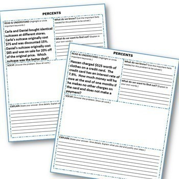 PERCENTS BUNDLE Task Cards, Notes, Error Analysis, Graphic Organizer, Puzzles