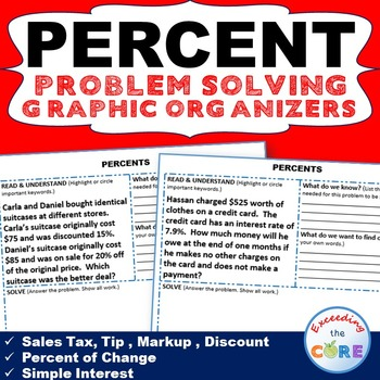 PERCENTS WORD PROBLEMS with Graphic Organizer