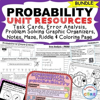 PROBABILITY BUNDLE - Task Cards, Error Analysis, Word Problem Solving, Puzzles