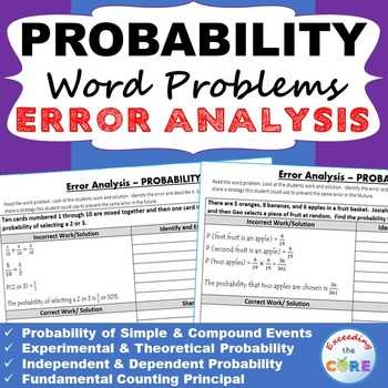 PROBABILITY Word Problems -  Error Analysis  (Find the Error) Common Core